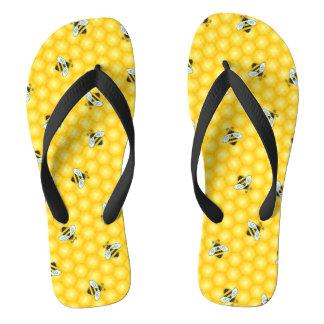 Hummel-Bienen-und Bienenwaben-Muster Flip Flops