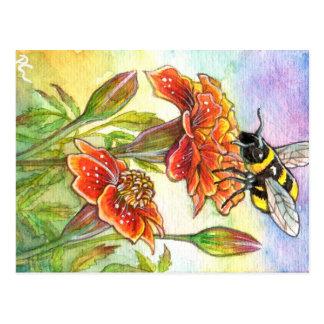 Hummel und Ringelblume Postkarte