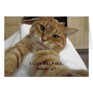Humorvolle Selfie orange Tabby-Katzen-Karte Karte