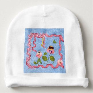 Humorvolle süße Erbsen rosa u. malvenfarbene Babymütze
