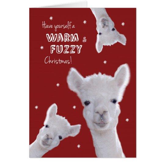 Humorvolle warme u. flockige Weihnachtskarte mit Grußkarte