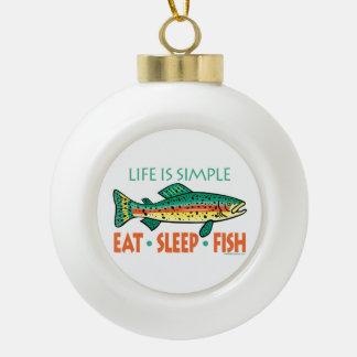 Humorvolles Fischen Keramik Kugel-Ornament