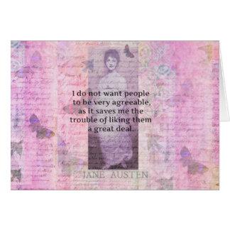 Humorvolles snarky Zitat Jane Austens Karte