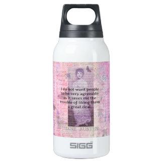 Humorvolles Zitat durch JANE AUSTEN über Leute Isolierte Flasche