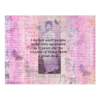 Humorvolles Zitat durch JANE AUSTEN über Leute Postkarte