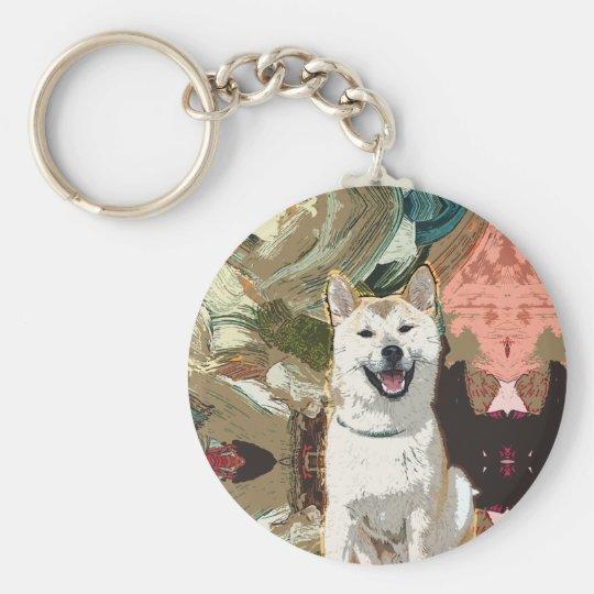 Hund Akitas Inu Standard Runder Schlüsselanhänger