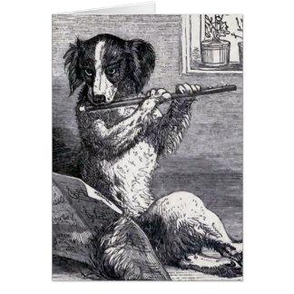 """Hund, der die Flöten-"" Vintage Illustration Karte"