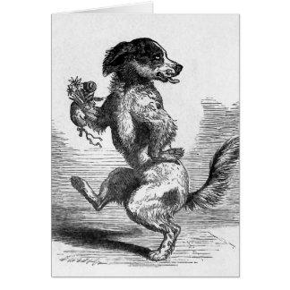 """""""Hund, der eine Spannvorrichtungs-"""" Vintage Karte"""