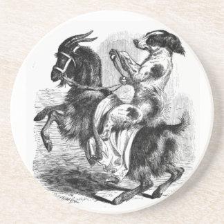 Hund, der eine Ziege reitet Untersetzer