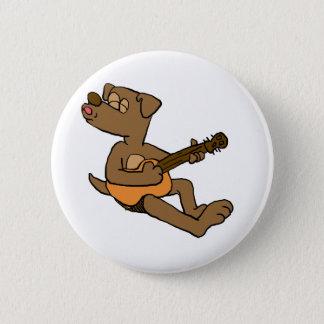 Hund, der Gitarre spielt Runder Button 5,1 Cm