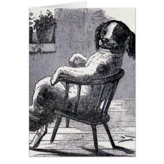 """""""Hund, der in einem Stuhl"""" Illustration sitzt Karte"""