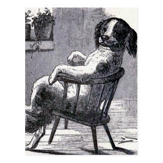 """""""Hund, der in einem Stuhl"""" Illustration sitzt Postkarte"""