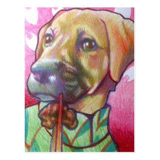 Hund im cheongsam Rindfleischpostkarte essend Postkarte