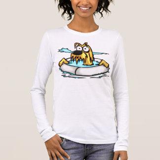 Hund im Lebensretter-Floss Langarm T-Shirt