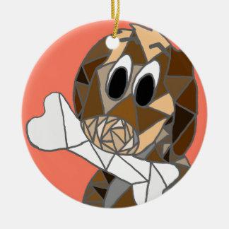 Hund mit dem Knochen Keramik Ornament