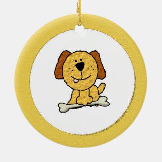 Hund mit einem Knochen Rundes Keramik Ornament