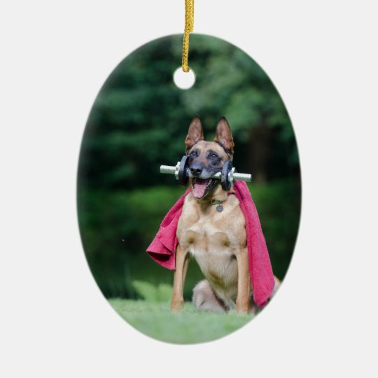 Hund Ovales Keramik Ornament