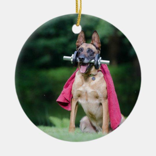 Hund Rundes Keramik Ornament