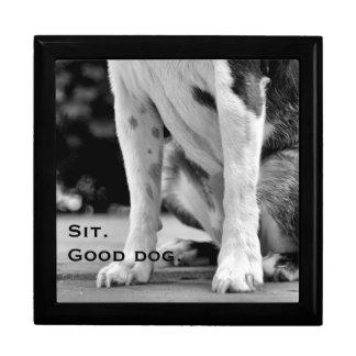 Hund sitzen Schwarzweiss Geschenkbox