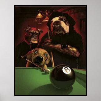 Hunde, die Pool - das Eightball spielen Poster