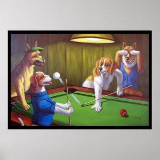 Hunde, die Pool - weg von der Tabelle spielen Poster