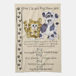 Hunde-und Katzen-Cartoon-Zitat-Küchen-Tuch Küchentuch
