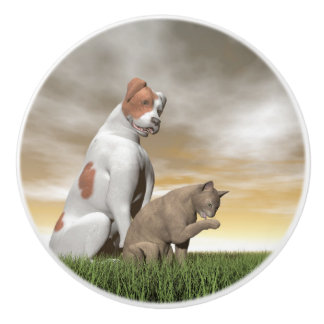 Hunde- und Katzenfreundschaft - 3D übertragen Keramikknauf