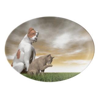Hunde- und Katzenfreundschaft - 3D übertragen Porzellan Servierplatte