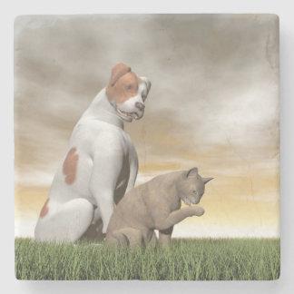 Hunde- und Katzenfreundschaft - 3D übertragen Steinuntersetzer