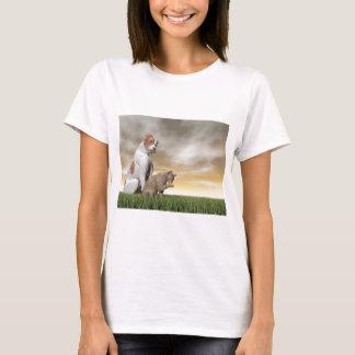 Hunde- und Katzenfreundschaft - 3D übertragen T-Shirt