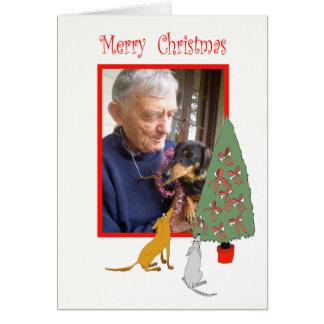 Hunde und Weihnachtsbaum, frohe Weihnachten, Karte