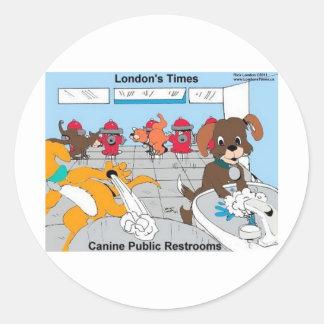 Hundeallgemeine Restrooms-lustige Runder Aufkleber