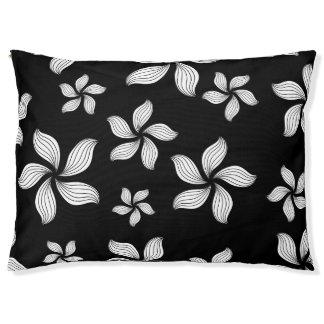 Hundebett-Schwarz-weiße Blumen Haustierbett