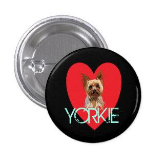 HundeButton: Yorkie Herz Runder Button 3,2 Cm