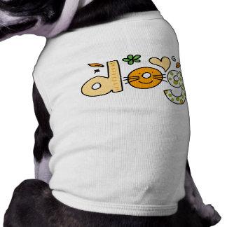 HundeCartoon-weißes Haustier-gewellte Shirt