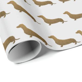 Hundeikone des Dackel-Imitat-Glitter-| Geschenkpapier