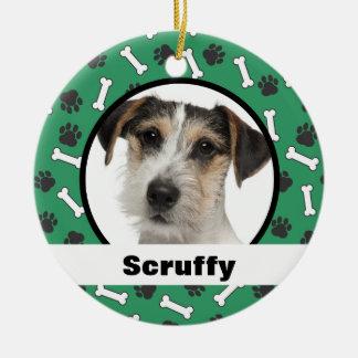 Hundeknochen-Tatze druckt grüne Verzierung Keramik Ornament
