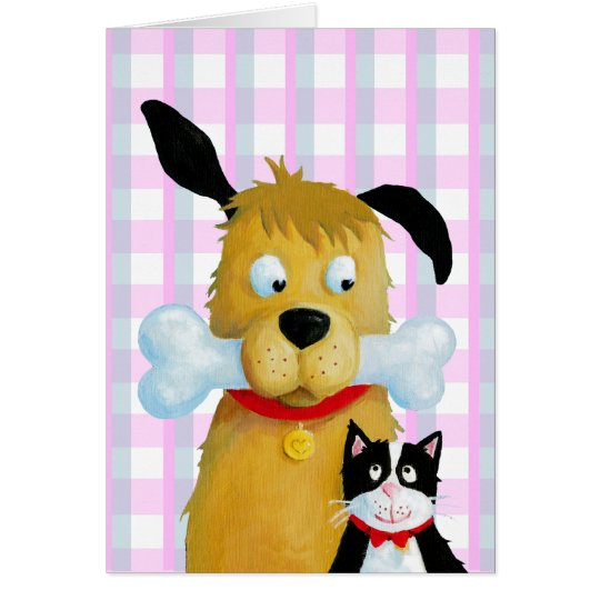 Hundeknochen u. -katze auf Tartan-Muster - Grußkarte