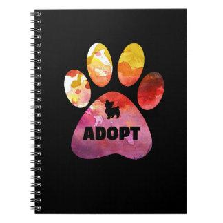 Hundeliebhaber-Geschenke. Adoptieren Sie. Spiral Notizblock