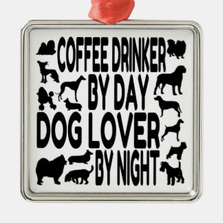 Hundeliebhaber-Kaffee-Trinker Silbernes Ornament
