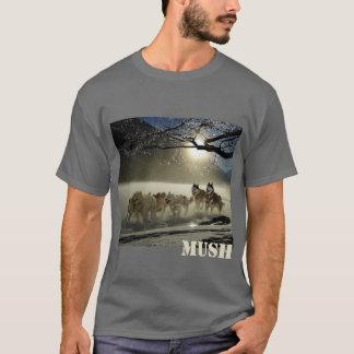Hundeschlitten-Team-Bild-Brei personalisiert T-Shirt