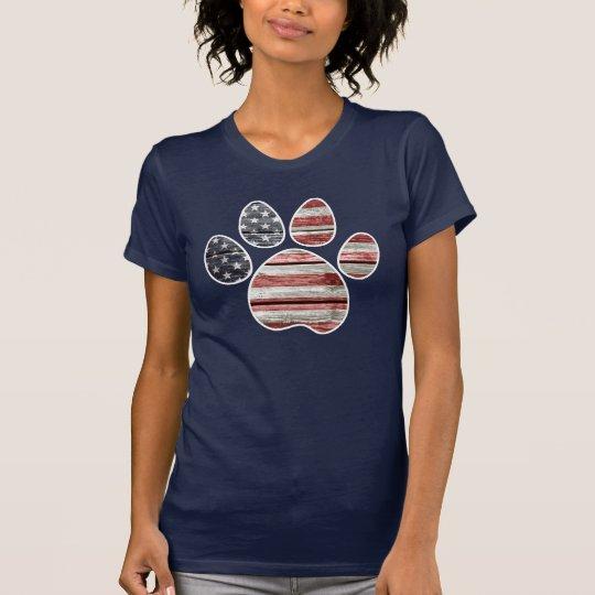 Hundetatzen-Druck, amerikanische Flagge T-Shirt