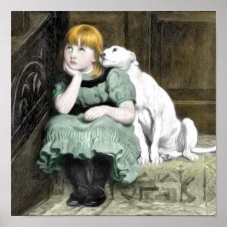 Hundeverehren Mädchen-viktorianische Malerei Poster