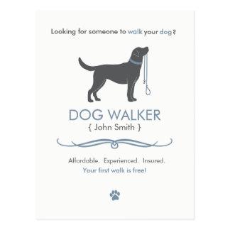 Hundewanderer-gehende Geschäfts-Postkarten-Werbung Postkarte