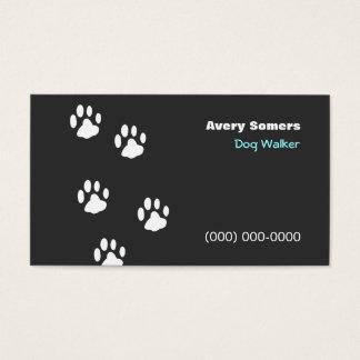 Hundewanderer-Tatzen-schwarze Visitenkarte
