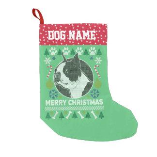 Hundezucht-hässliche Weihnachtsstrickjacke Bostons Kleiner Weihnachtsstrumpf