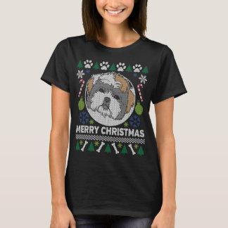 Hundezucht-hässliche Weihnachtsstrickjacke Shih T-Shirt