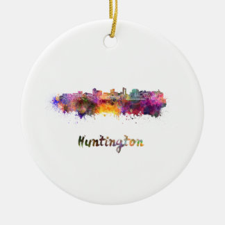 Huntington skyline im Watercolor Rundes Keramik Ornament