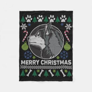 Husky-frohe Weihnacht-hässliche Strickjacke Fleecedecke