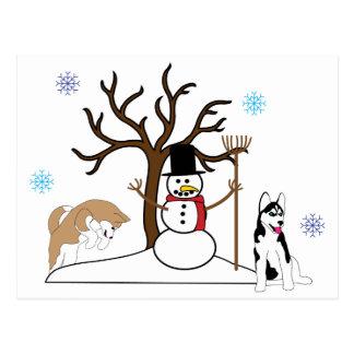 Husky-Weihnachtspostkarte Postkarte